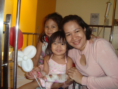 Zoe on Valentine's day with cousin Arbie and ninang Reylyn